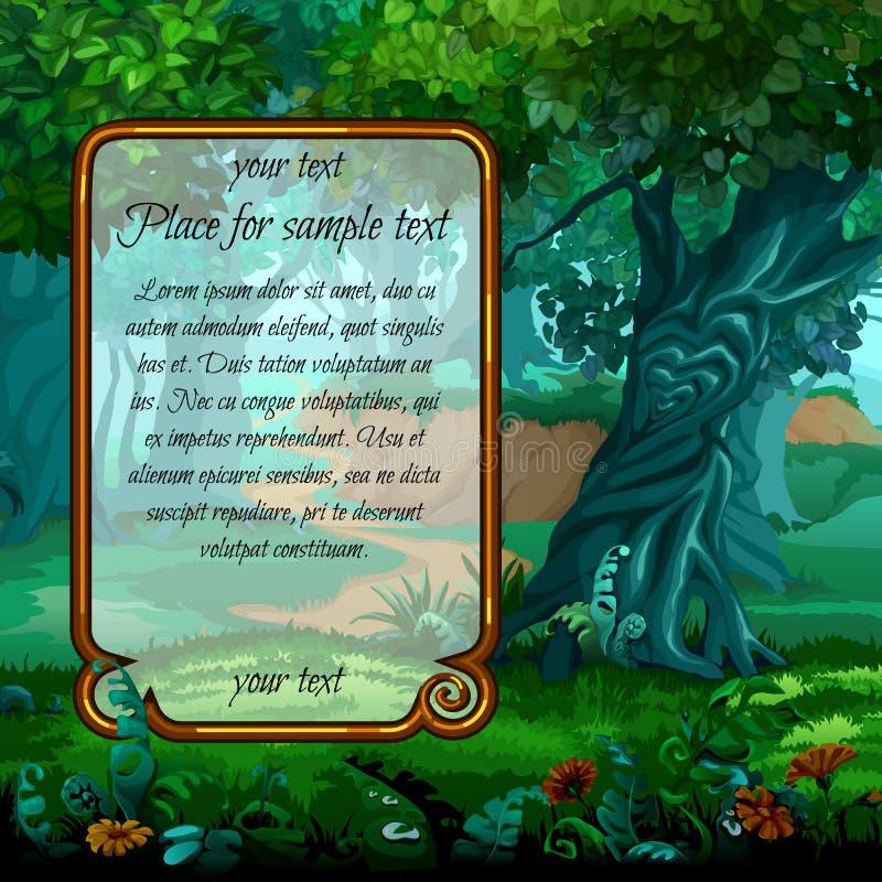Paisagem místico com quadro para o texto ilustração stock