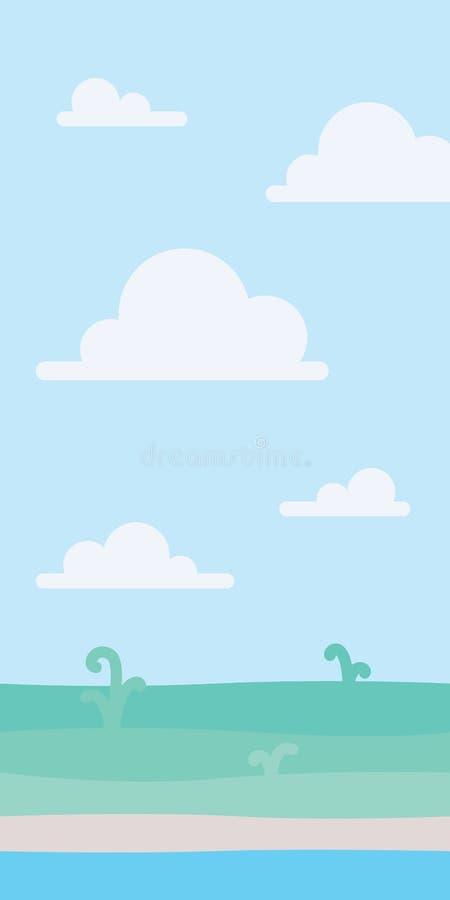 Paisagem macia da natureza com céu azul, costa e algumas plantas verdes Cenário litoral seaside Ilustração do vetor em ilustração royalty free