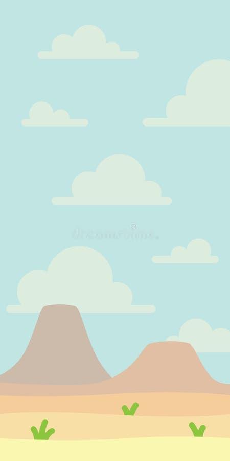 Paisagem macia da natureza com céu azul, deserto, vulcões ou montanhas, alguma grama Espaço vazio ninguém Vetor ilustração do vetor