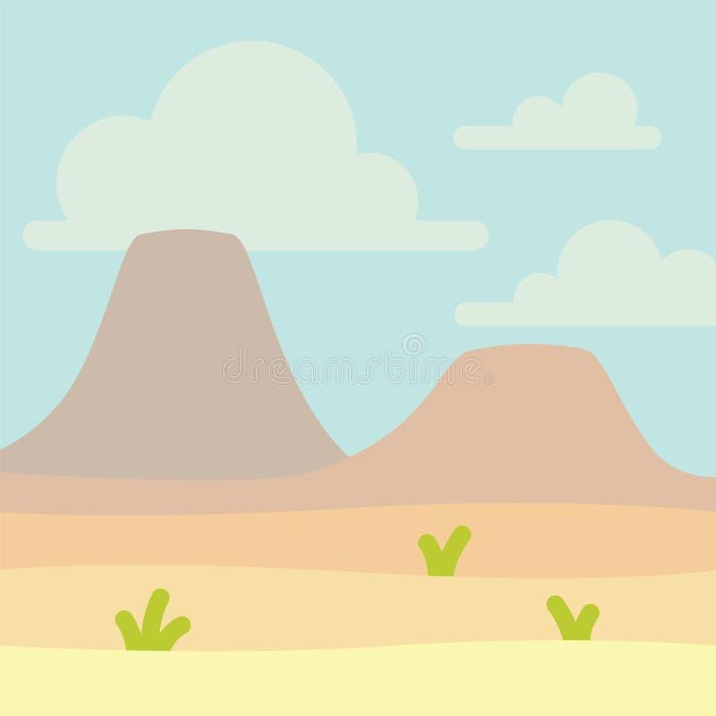 Paisagem macia da natureza com céu azul, deserto, vulcões ou montanhas e alguma grama verde Espaço vazio com ninguém ilustração royalty free