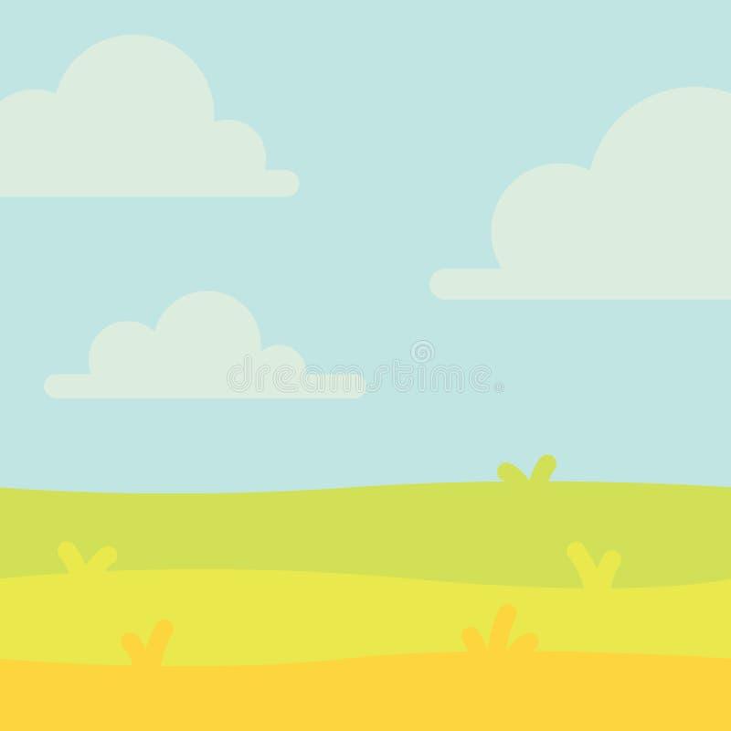Paisagem macia da natureza com céu azul, montes e grama verde Cenário rural Campo e prado Ilustração do vetor em ilustração do vetor