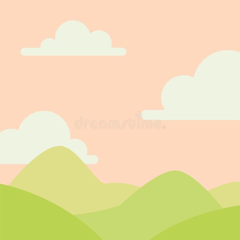 Paisagem macia da natureza com céu, montanhas e os montes verdes Cenário rural Tempo do nascer do sol Ilustração do vetor em simp ilustração do vetor