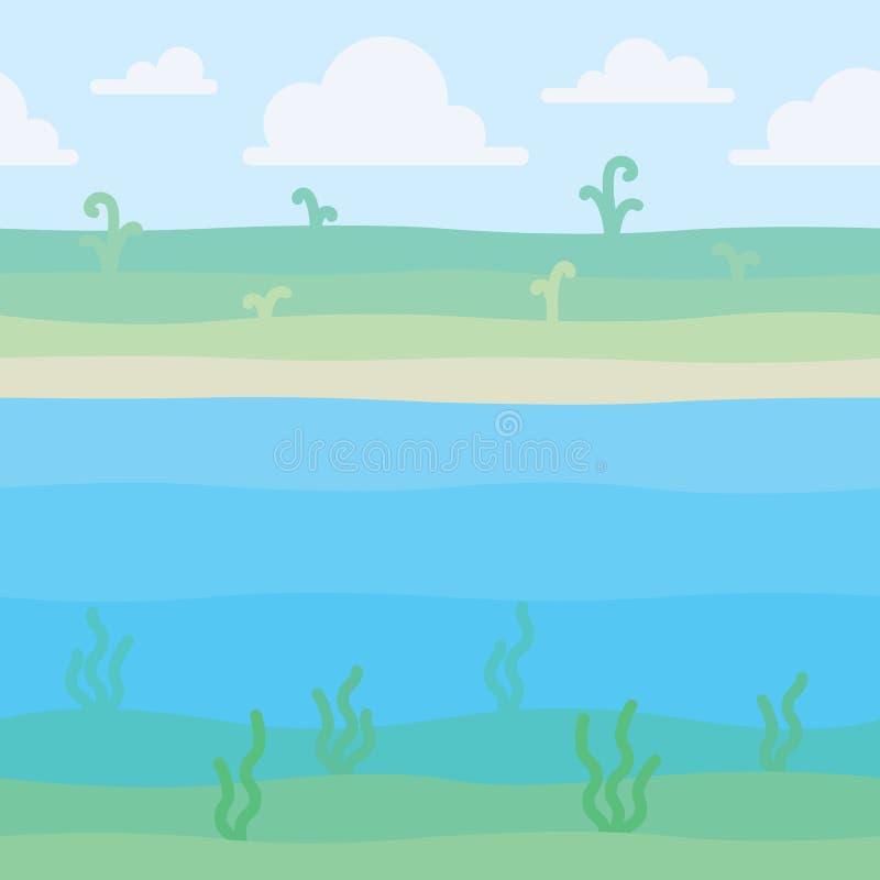 Paisagem macia da natureza Suporte com algumas plantas e vista subaquática com alga Cena para sua arte finala, infographic ilustração do vetor