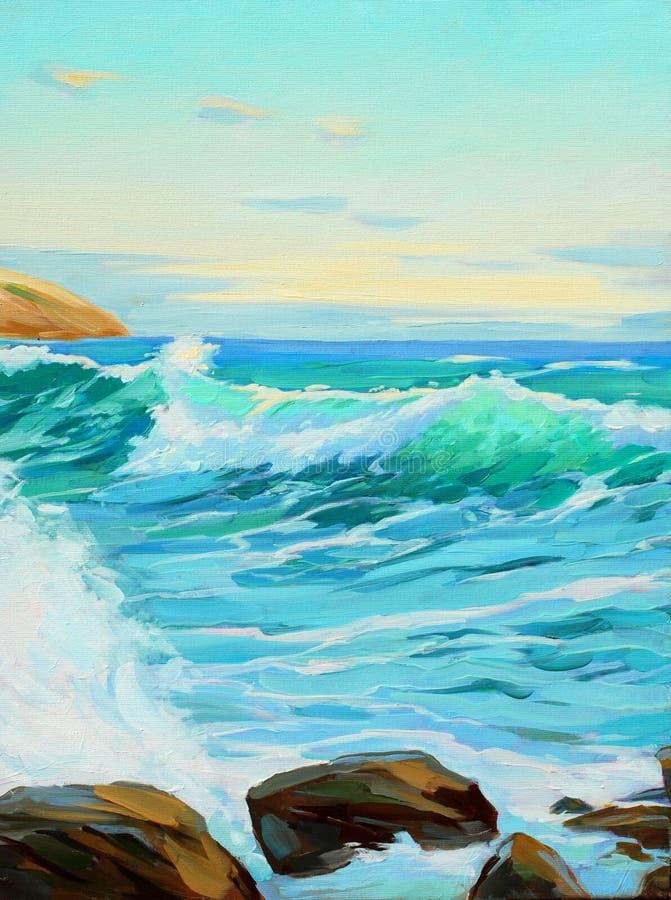 Paisagem mediterrânea com onda de turquesa ilustração stock