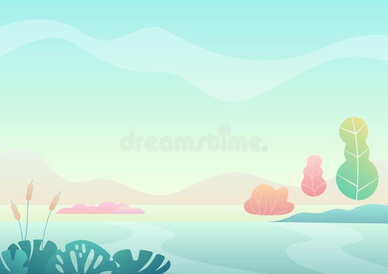 A paisagem minimalistic do campo do verão da fantasia com desenhos animados curvou árvores, ilustração na moda do vetor da cor do ilustração stock