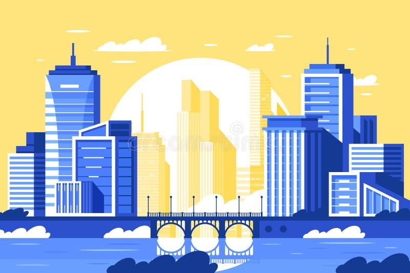 Paisagem moderna lisa da cidade com ponte, rio, torre e por do sol ilustração do vetor
