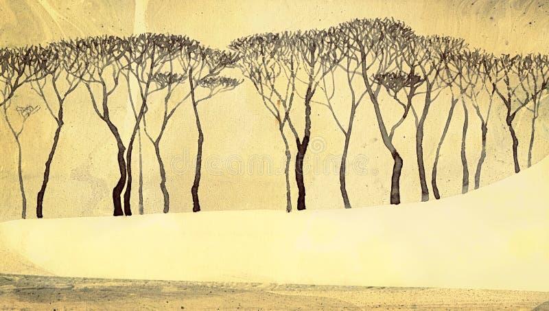 Paisagem monocromática do inverno Árvores desencapadas no lago quieto ilustração stock