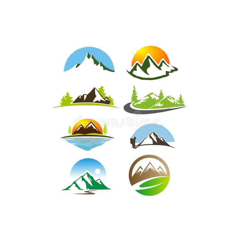 Paisagem, montanha, isolada, natureza, por do sol, nascer do sol, acampamento, vista no grupo do logotipo do ícone do vetor da il ilustração do vetor