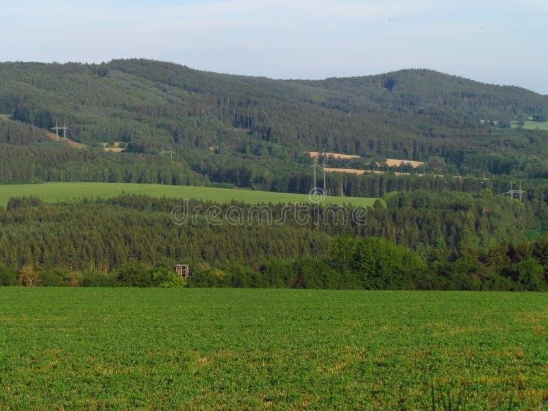 Paisagem montanhosa rural, pa?s com o prado verde no ver?o, floresta, rep?blica checa fotografia de stock