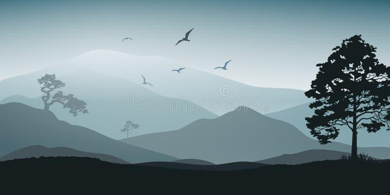 Paisagem Mystical Montanhas e ?rvore Turismo e viagem ilustração stock