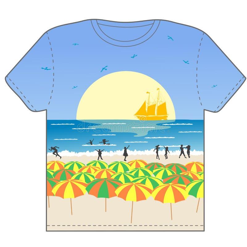 Paisagem na praia ilustração stock