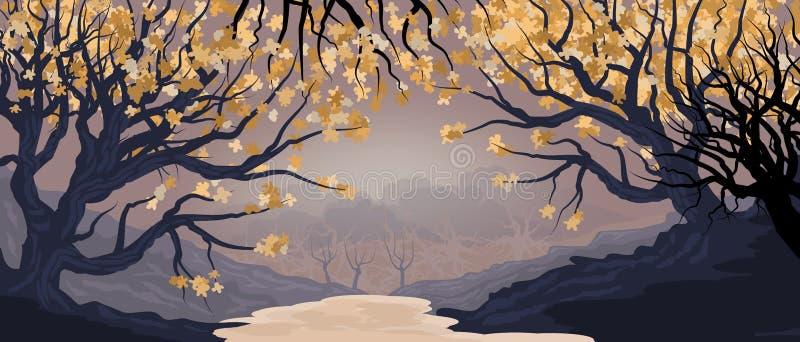 Paisagem natural com bosque e árvores no primeiro plano Ilustração densa da floresta ilustração do vetor