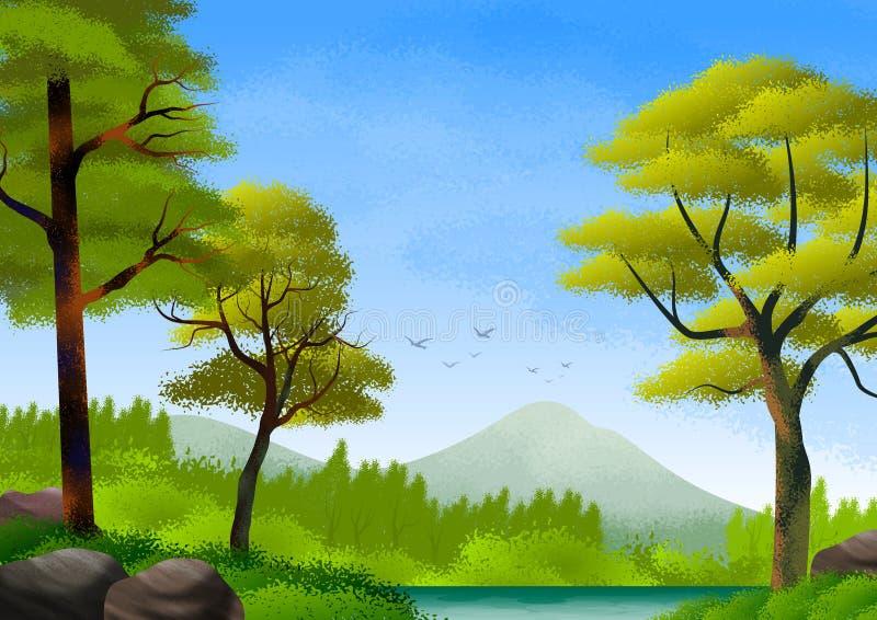 Paisagem natural com montanhas, floresta, lago com água calma e árvores Ilustra??o ilustração do vetor
