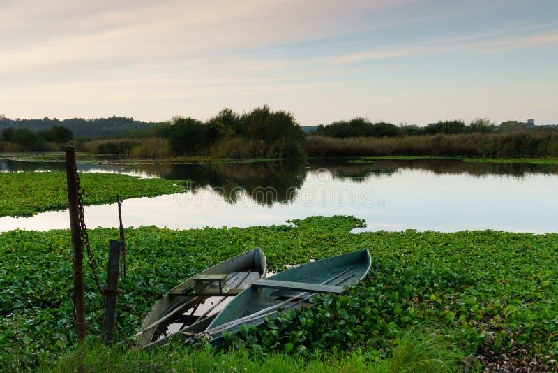 Paisagem natural com os barcos na água no por do sol Lago de surpresa com os barcos de pesca artisanal pequenos fotografia de stock