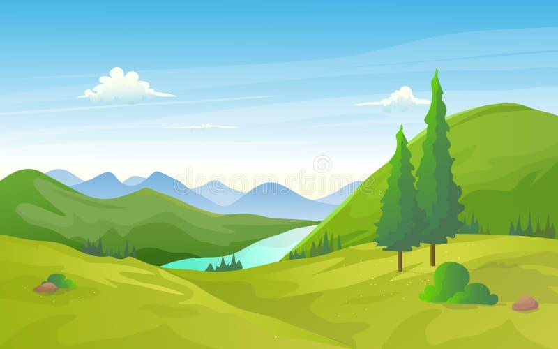 A paisagem natural do vale verde com rio e a montanha enfileiram ilustração do vetor
