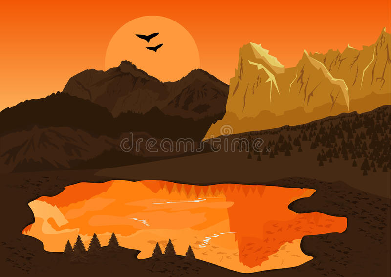 Paisagem natural do verão com lago da montanha e silhueta dos pássaros no por do sol ilustração stock