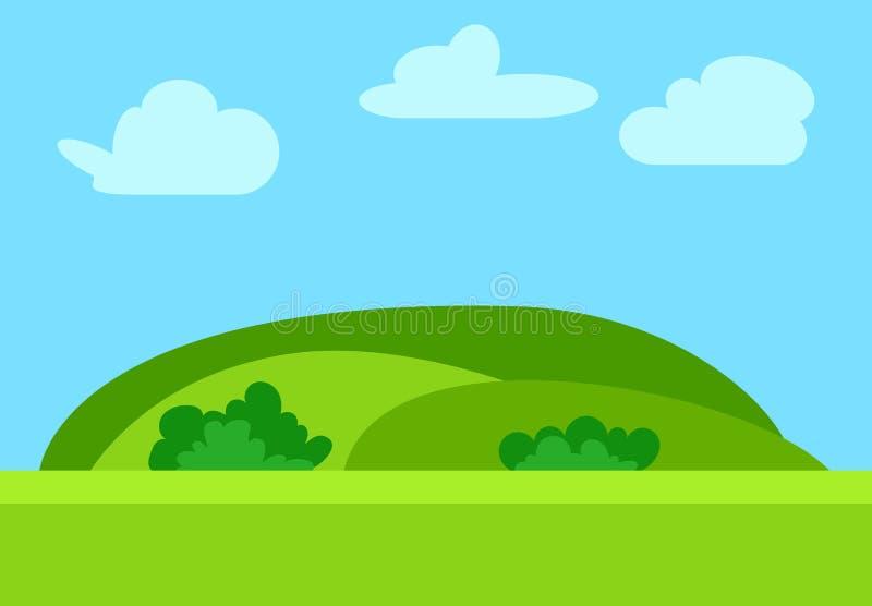 Paisagem natural dos desenhos animados no estilo liso com montes verdes ilustração stock