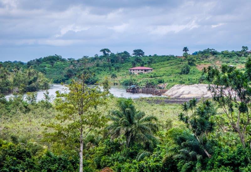 Paisagem natural em Libéria, África ocidental fotografia de stock