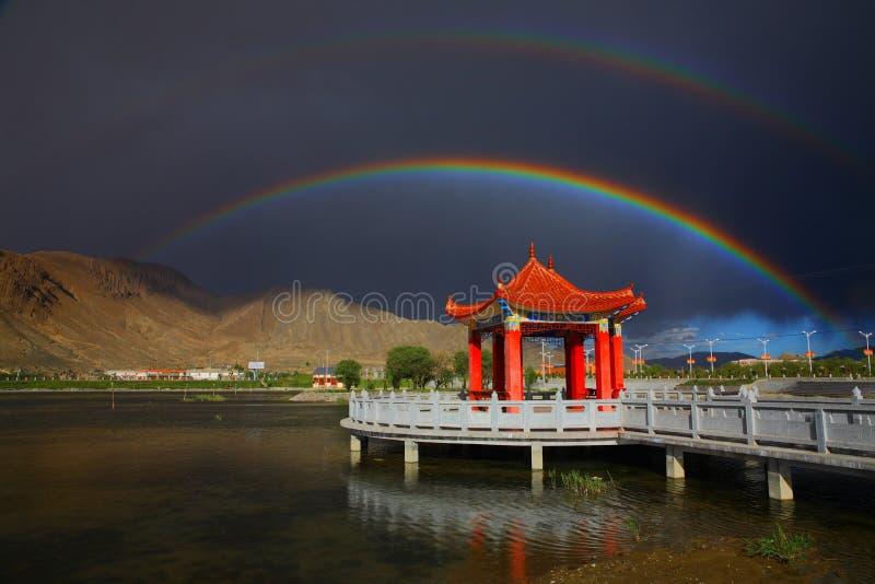 Paisagem, natureza, China, Tibet, arco-íris imagem de stock