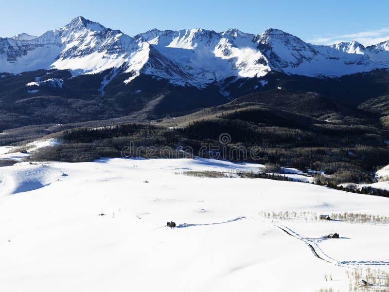 Paisagem nevado da montanha de Colorado. imagem de stock