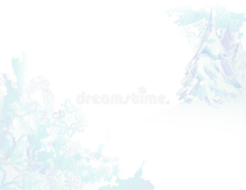 Paisagem nevado de Grunge da aguarela ilustração do vetor