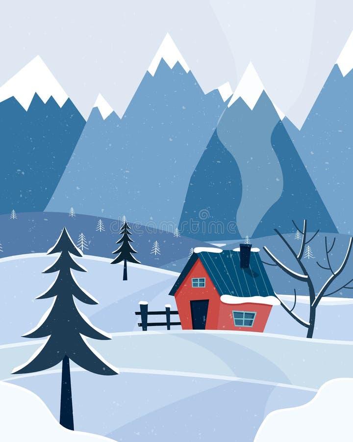Paisagem nevado do inverno com montanhas e casa de campo Estação do Natal ilustração stock