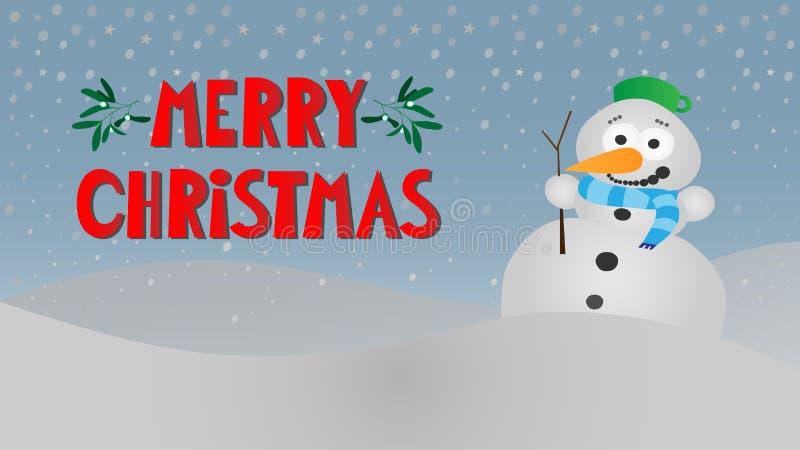 Paisagem nevado do inverno com o boneco de neve de sorriso bonito ilustração do vetor