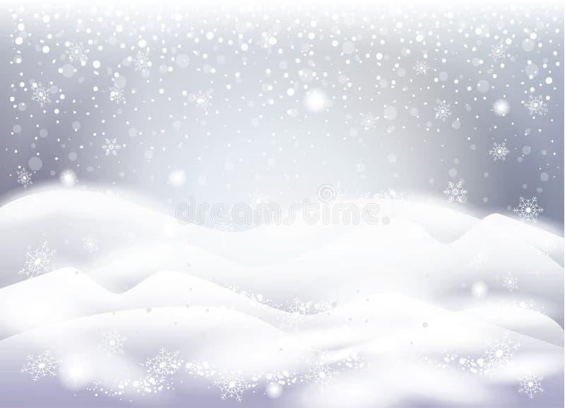 Paisagem nevado do Natal, queda de neve, queda dos flocos de neve ilustração royalty free
