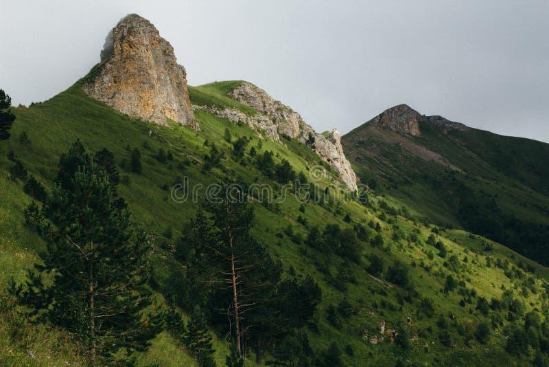 paisagem nevoenta Vista das montanhas ao vale coberto com o nevoento fotografia de stock
