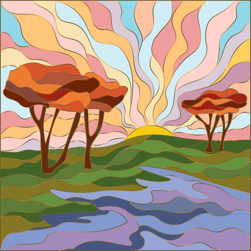 Paisagem no campo do estilo do mosaico, no alvorecer e em árvores sós Ilustração do vetor da natureza em cores macias ilustração do vetor