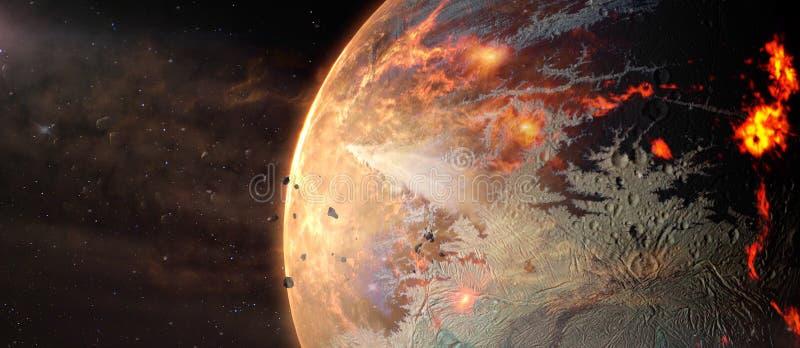 Paisagem no exoplanet quente estrangeiro da fantasia no espaço profundo ilustração royalty free