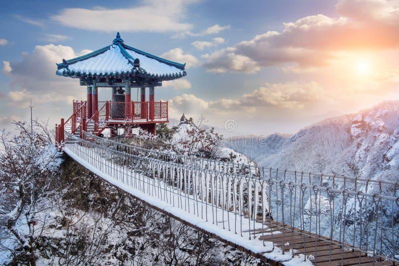 Paisagem no inverno, Guemosan em Coreia imagens de stock