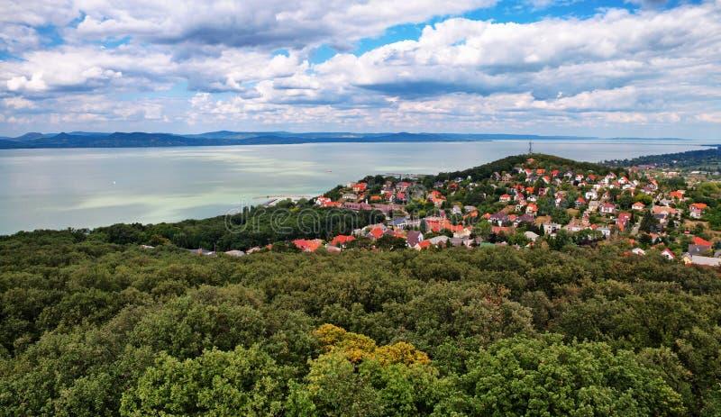 Paisagem no lago Balaton, Hungria imagens de stock