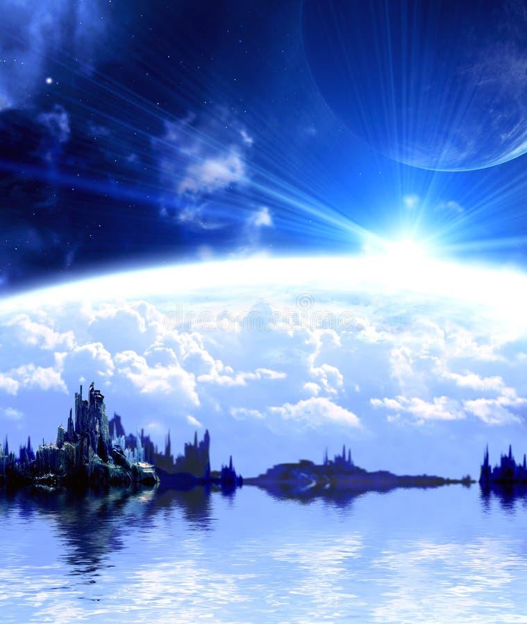 Paisagem no planeta da fantasia ilustração do vetor
