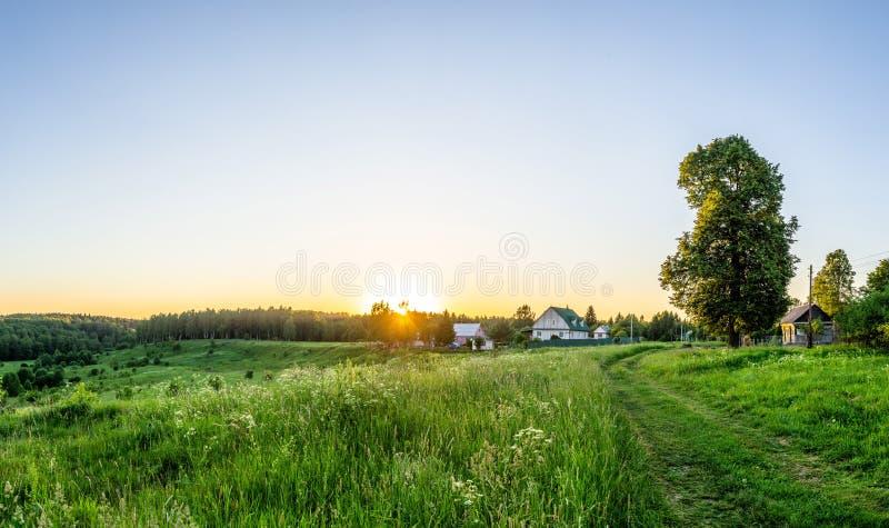 Paisagem no por do sol em Rússia central fotografia de stock royalty free