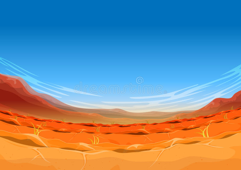 Paisagem ocidental distante sem emenda do deserto para o jogo de Ui ilustração stock