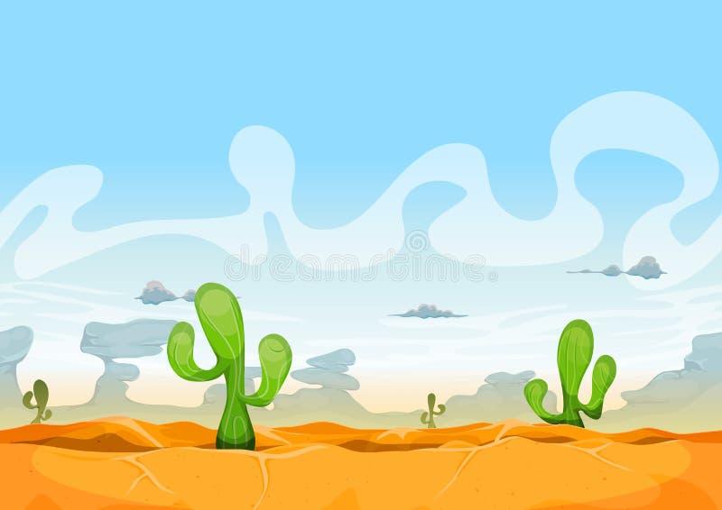 Paisagem ocidental sem emenda do deserto para o jogo de Ui ilustração royalty free