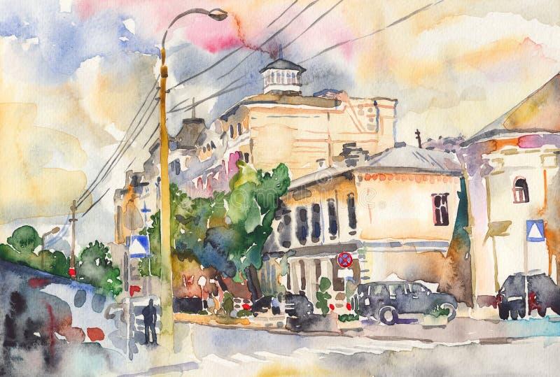Paisagem original da cidade da aquarela ilustração do vetor