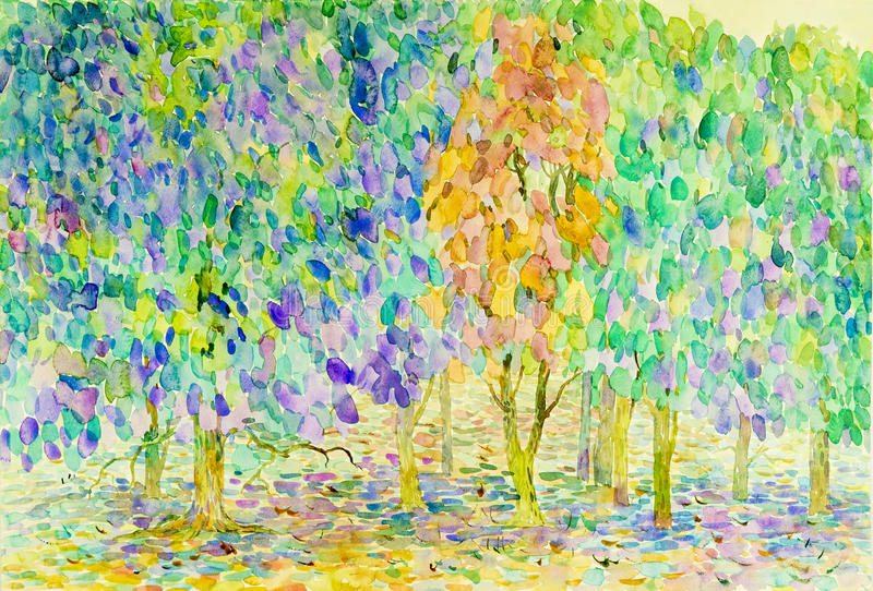 Paisagem original da pintura da aquarela abstrata, cores da natureza ilustração royalty free