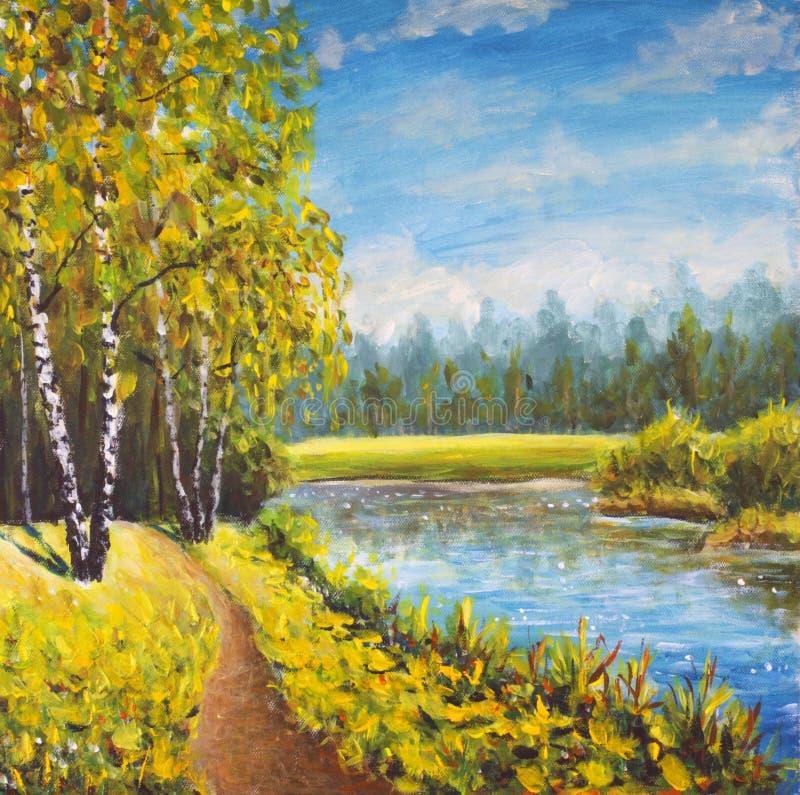 Paisagem original do verão da pintura a óleo, natureza ensolarada na lona Floresta distante bonita, paisagem rural Arte moderna d fotografia de stock royalty free