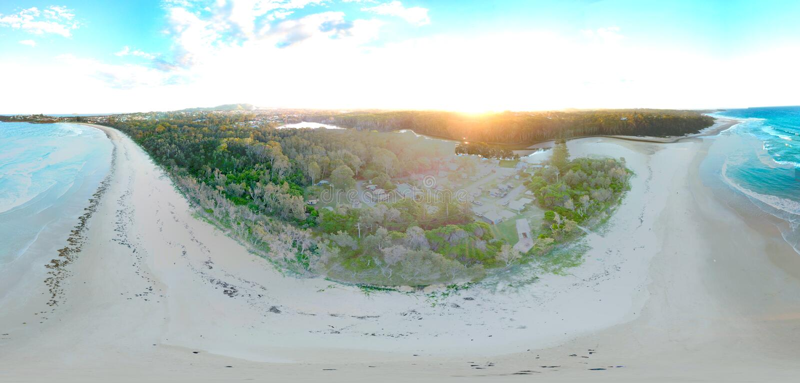 Paisagem panorâmico de Woolgoolga foto de stock