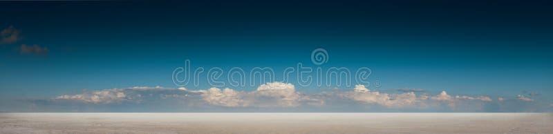 Paisagem panorâmico do deserto com o céu azul e as nuvens profundos imagem de stock royalty free