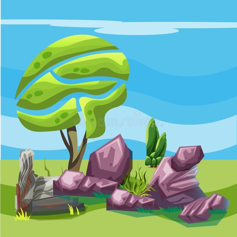 Paisagem para jogos com árvores e pedras ilustração royalty free