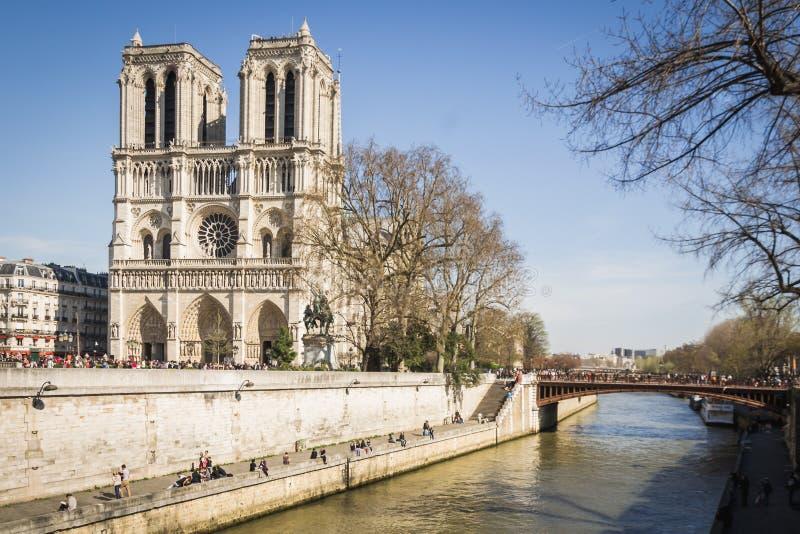 Paisagem parisiense de cais de Paris sob um céu azul bonito na extremidade de mola no pé da catedral famosa Notre Dame fotos de stock royalty free