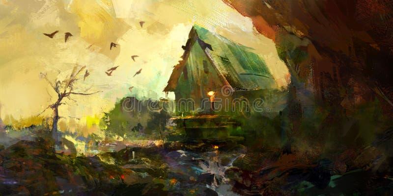 Paisagem pintada do outono com casa ilustração do vetor