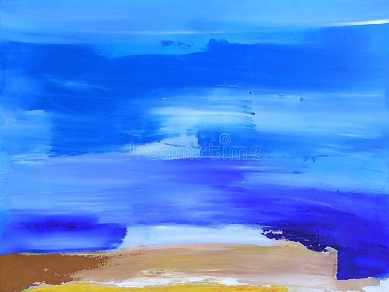 Paisagem pintada/textura abstrata no azul ilustração royalty free