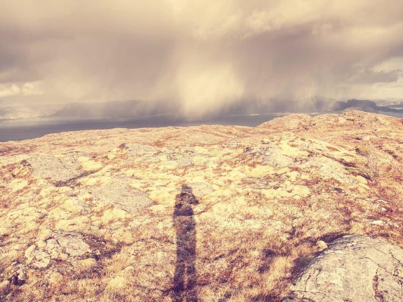 Paisagem pitoresca do mar de Noruega, aerialview do pico de montanha fotos de stock royalty free