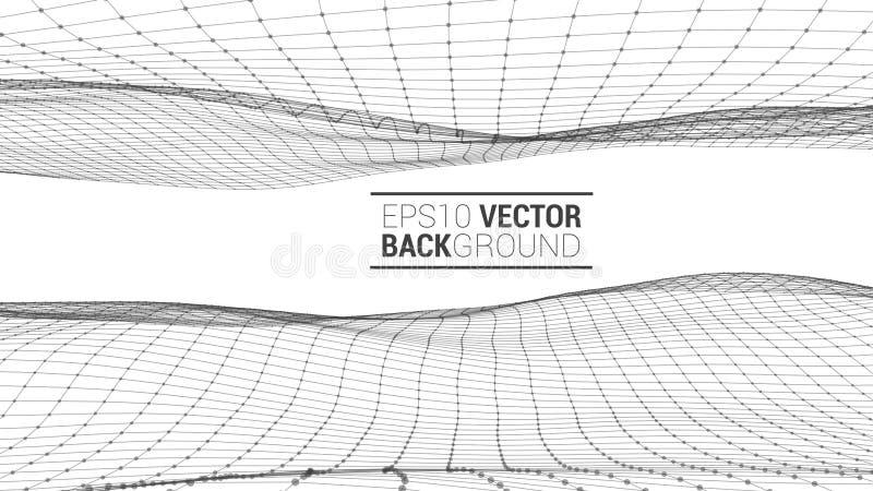 Paisagem poligonal de Wireframe ilustração do vetor