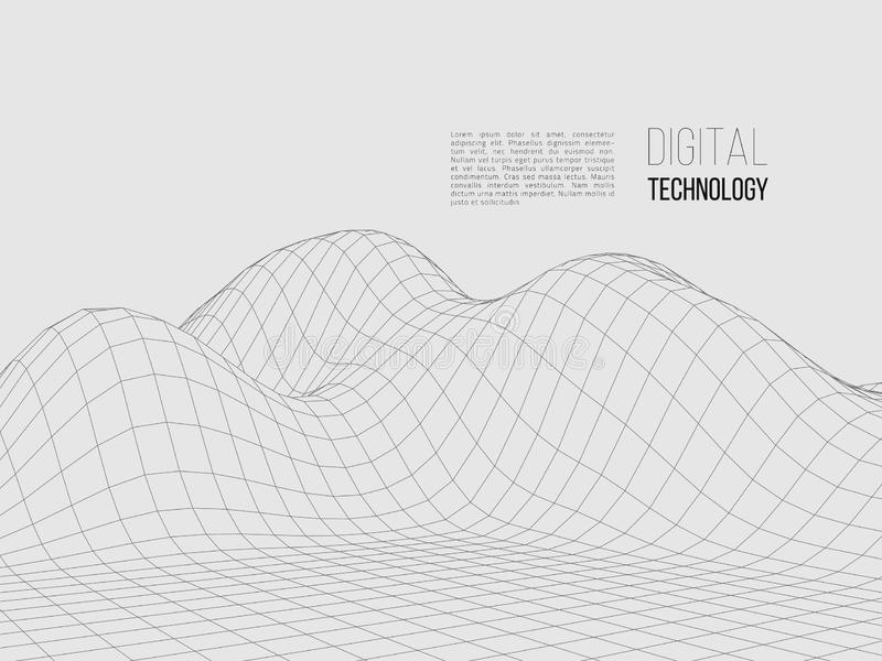 Paisagem poligonal de Wireframe Terreno de Digitas 3d ilustração royalty free