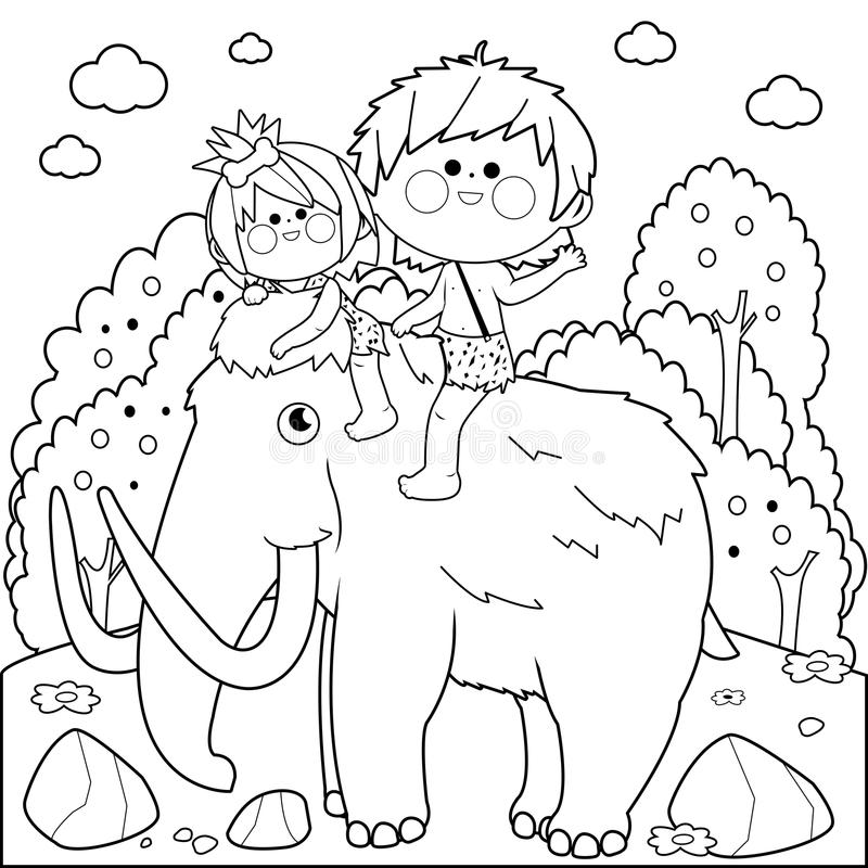 Paisagem pré-histórica com as crianças que montam um mammoth Página preto e branco do livro para colorir ilustração do vetor